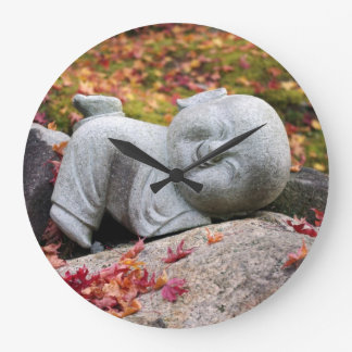 Funny Japanese monk statue with autumn leaves Large Clock