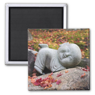 Funny Japanese monk statue with autumn leaves Magnet