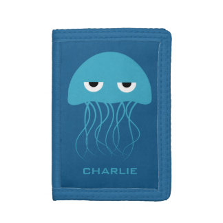 Funny Jellyfish custom monogram wallets