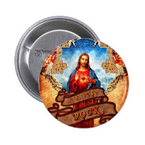 jesus, funny, rock, humor, illustration, vintage, skull, cool, tattoo, buttons, flame, heart, poker, banner, angel, god, religion, rétro, art, sky, guitar, button, Button with custom graphic design