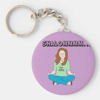 Funny Jewish Yoga Chick Shalommm Basic Round Button Keychain