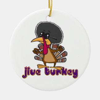 funny jive turkey cartoon with text Double-Sided ceramic round christmas ornament