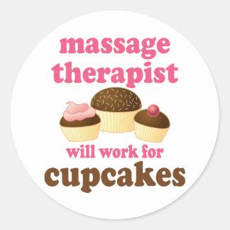 Funny Job Chocolate Massage Therapist Classic Round Sticker