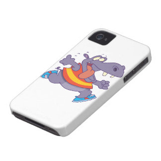 funny jogging hippo runner cartoon iPhone 4 cover