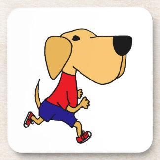 Funny Jogging Yellow Labrador Dog Drink Coasters