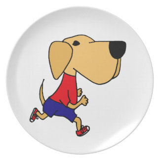 Funny Jogging Yellow Labrador Dog Party Plates