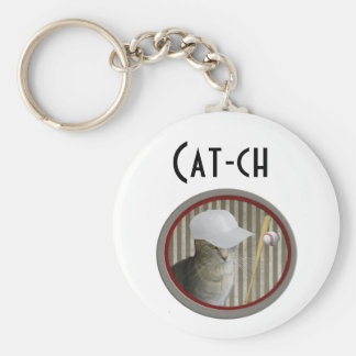 "Funny joke ""cat-ch"" baseball cat keychain"
