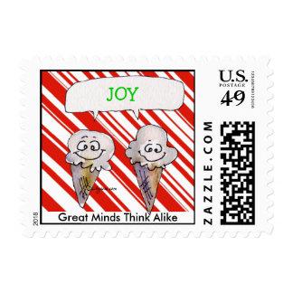 Funny Joy Cartoon Ice Creams Cones Christmas Postage