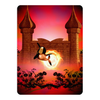 Funny, jumping orca in the sunset card