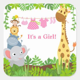 Funny Jungle Animals Announcements Sticker Square Stickers