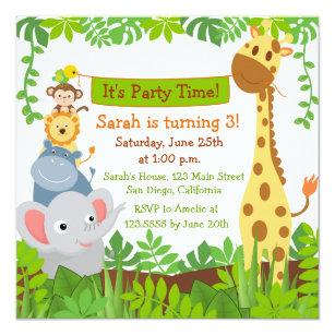 Funny Jungle Animals Birthday Party Invitations