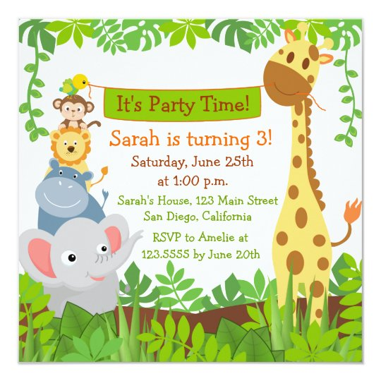 Jungle birthday party invitations goalblockety jungle birthday party invitations stopboris Choice Image