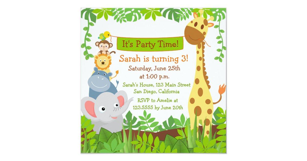 Funny jungle animals birthday party invitations zazzle stopboris Image collections