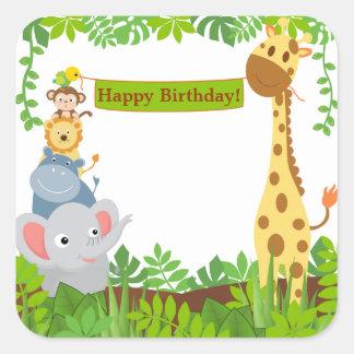 Funny Jungle Animals Happy Birthday Sticker Square Sticker