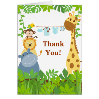 Funny Jungle Animals Thank You Card