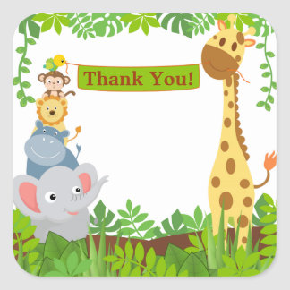 Funny Jungle Animals Thank You Sticker