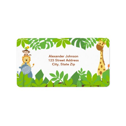 Funny Jungle Baby Animals Address Label Personalized Address Labels