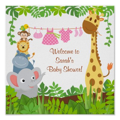 Funny Jungle Baby Animals Baby Shower Poster | Zazzle