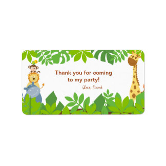 Funny Jungle Baby Animals Birthday Favor Tags Label