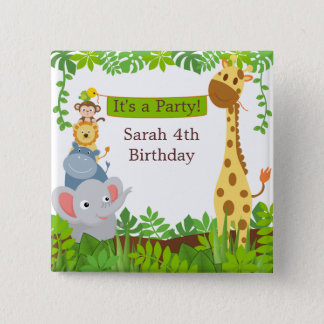 Funny Jungle Baby Animals Button