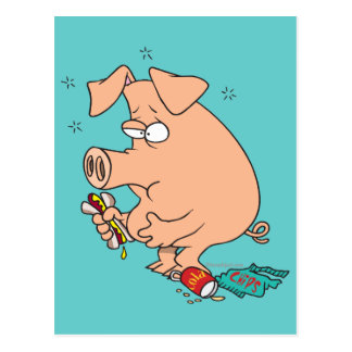 funny junk food stuffed pig with tummy belly ache postcard