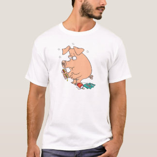 funny junk food stuffed pig with tummy belly ache T-Shirt