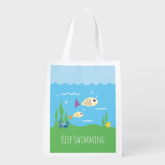 Funny Just Keep Swimming Underwater Ocean Fish Grocery Bag