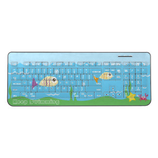 Funny Just Keep Swimming Underwater Ocean Fish Wireless Keyboard