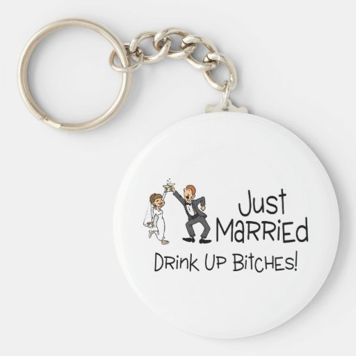 Funny Just Married Wedding Toast Basic Round Button Keychain