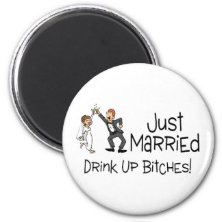 Funny Just Married Wedding Toast Magnets