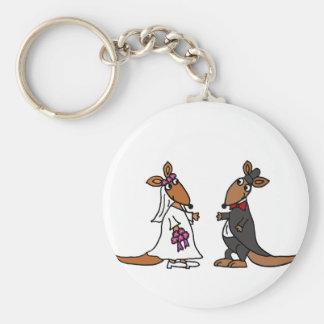 Funny Kangaroo Bride and Groom Wedding Design Keychains
