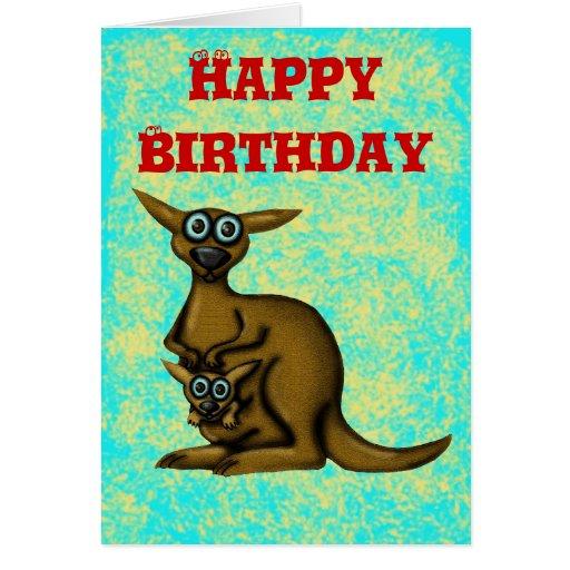 Funny Kangaroo Happy Birthday Card
