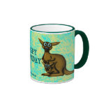 Funny kangaroo happy birthday mug