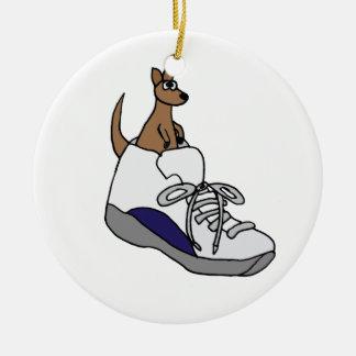 Funny Kangaroo in High Top Tennis Shoe Design Ceramic Ornament