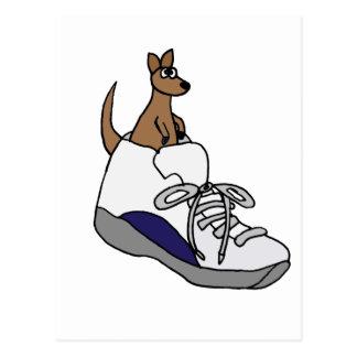 Funny Kangaroo in High Top Tennis Shoe Design Postcard