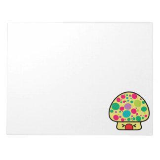 funny kawaii toadstool mushroom house note pads