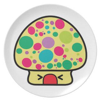 funny kawaii toadstool mushroom house party plate
