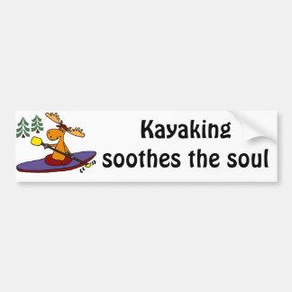 Funny Kayaking Moose Bumper Sticker
