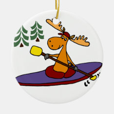 Funny Kayaking Moose Ceramic Ornament at Zazzle