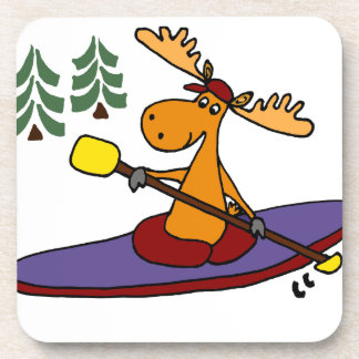 Funny Kayaking Moose Drink Coaster