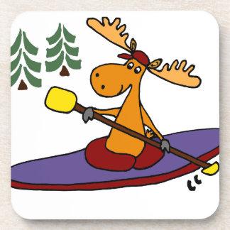 Funny Kayaking Moose Drink Coaster