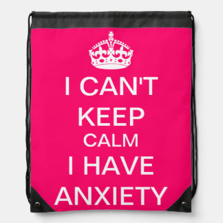 Funny Keep Calm and Carry On Anxiety Spoof Pink Drawstring Bag