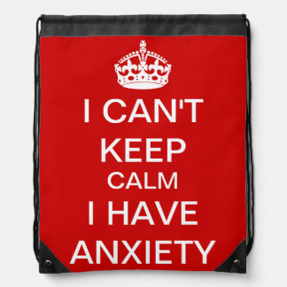 Funny Keep Calm and Carry On Anxiety Spoof Red Drawstring Bag