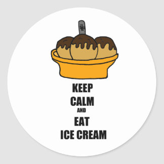Funny Keep Calm and Eat Ice Cream Cartoon Design Classic Round Sticker