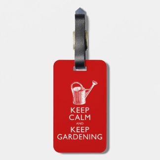 Funny Keep Calm and Keep Gardening Gardener's Bag Tag