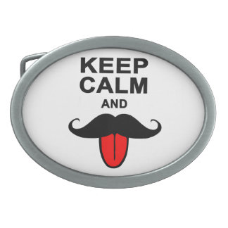 Funny Keep calm and mustache Oval Belt Buckle