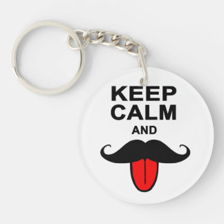Funny Keep calm and mustache Keychain
