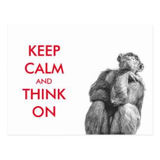 Funny Keep Calm and Think On Chimpanzee Postcard