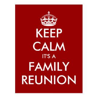 Funny keep calm family reunion postcards