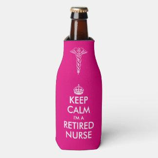 Funny Keep calm i'm a retired nurse bottle cooler